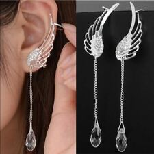 Silver Plated Angel Wing Stylist Crystal Earrings Drop Dangle Ear Cuff