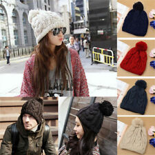 Womens Men Unisex wool Knit Warm Woolly Bobble Beanie Baggy Ski Hat Cap 42