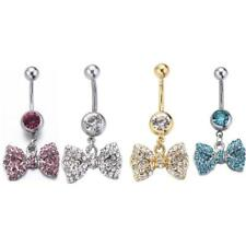 Bow Rhinestone Anchor Dangle Button Barbell Belly Navel Ring Bar Body Piercing