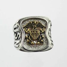 Stainless Steel US Navy USN Insignia Ring Silver Gold Plated