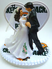 Wedding Cake Topper Green Bay Packers Football Themed Dancing Bride Groom Pretty