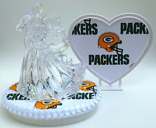 Wedding Cake Topper Green Bay Packers Themed Clear Couple Dancing Football Groom