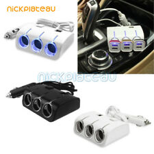 3Way 12V/24V Dual USB Port Car Cigarette Lighter Socket Splitter Charger Adapter