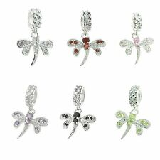 1x Sterling Silver Dragonfly CZ Crystal Dangle Bead for European Charm Bracelets
