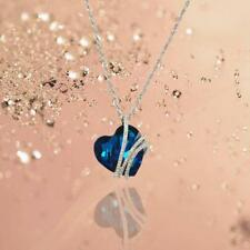 Rhinestone Chain Ocean Heart Crystal Necklace Pendant Lady Fashion Jewelry Gift