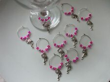 Flamingo Pink Wine Glass Charms x 6, 8, 10  Organza Gift Bag Party Hen Wedding