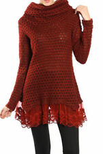 S L NEW Boutique RYU Cowl Neck Knit Sweater Lace Hem Tunic Top - Burgundy
