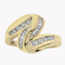 0.40 Carat Baguette And Round Cut Diamond Ring 14K Yellow Gold