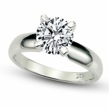 Sterling Silver Cubic Zirconia Solitaire 1.25 Carat tw Round Cut 4-Prong Set CZ