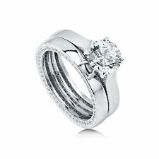Sterling Silver 3.06 ct.tw Round Cubic Zirconia CZ Solitaire Engagement Wedding