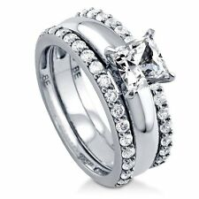 Sterling Silver Princess Cubic Zirconia CZ Solitaire Engagement Wedding Stackab