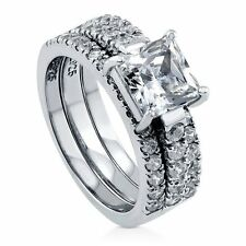 Sterling Silver Princess Cubic Zirconia CZ Solitaire Engagement Wedding Sta 255