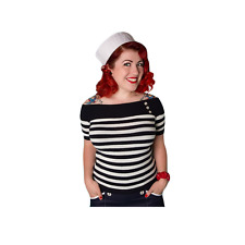 NEW 1950s Nautical Top, High Quality Rockabilly Retro Top By Miss Fortune, XS-XL