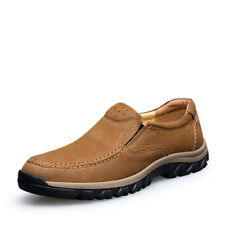 Big Size UK5-11 Leather Slip On Boat Shoes Casual Mens Walking Soft Sole Shoes