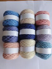 Packs of 2 ply pure wool, 9 small balls in Pretty colours.  7 different weights.