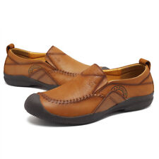 Fashion Pull On Leather Mens Casual Loafers Round Toe Soft Sole Shoes Size