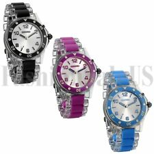 Womans Mens Watch Light Up Glow Sparkle Bling Quartz Analogue Flashing Watch New