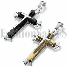 New Stainless Steel Men Unisex Silver Gold Black Cross Pendant Necklace w Chain