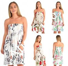NEW WOMENS LADIES FLORAL PRINT SHEERING BANDEAU BOOBE TUBE TUNIC TOP MINI DRESS
