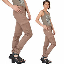 New Womens Brown Slim Fitted Combat Pants Skinny Cargo Trousers Boyfriend Jeans