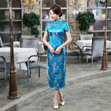 6 color red blue New Chinese Style embroider women's Dress/Cheong-sam szS-6XL
