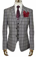 MENS BRITISH DESIGNER TAN SINGLE BREASTED 3 PIECE CHECKED TAILORED FIT SUIT