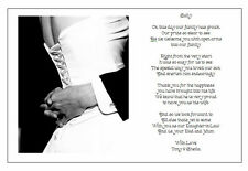 Personalised Wedding Day Poem Gift - From Grooms PARENTS TO DAUGHTER IN LAW