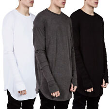 High Street Men's Long Sleeve Cotton Shirt Loose Casual Tops Sports Gym Clothes