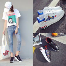 New Womens Students Lace Up High Platform Wedge Sneakers Heels Casual PU Shoes
