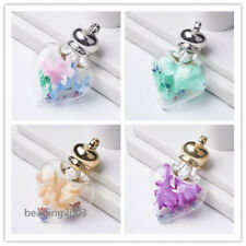 2pcs Glass Big Heart Pendants with CCB Findings and Resin Rhinestones 51mm