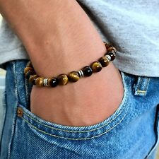 Mens Brown Tigers Eye Stone Bead Wristband Man Women Stretch Elastic Bracelet