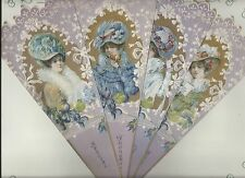 Old Print Factory Victorian Elegance Fan Greeting Card with Envelope 3 Styles