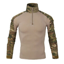 Men's Army Camo Long Sleeve 1/4 Zip Pullover T-shirt Military Combat Shirt Tees