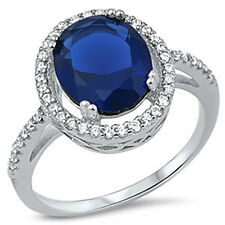 Sterling Silver CZ Halo Oval Cut Royal Blue Sapphire Engagement Ring Size 5-9