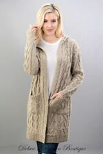 S/M M/L NEW Double Knit Hooded Sweater Cardigan - Taupe