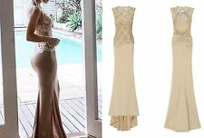 CELEB NUDE GOLD SPARKLE SLINKY BACKLESS MAXI FISHTAIL PARTY PROM DRESS 6 -16