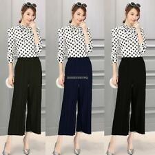 Women Pull On Pleated Wide Leg Solid Casual Loose Capri Pants Trousers DKVP