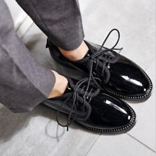 New Womens Lace up Loafers Flat low Heel Patent leather Casual Work School Shoes