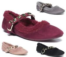 New Ladies Faux Suede Stud Buckle Slip On Flat Loafers Pumps Shoes Size 3-8