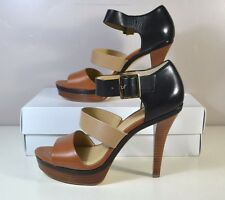 NIB MICHAEL KORS FINLEY PLATFORM BROWN/BLACK SANDALS HIGH HEELS SHOES SZ 11