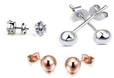 Sterling Silver 925 18k Rose Gold and CZ ball stud earrings BRAND NEW Butterfly