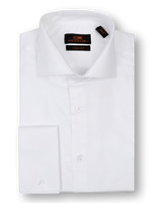 Men's Steven Land White Sateen Spread Collar and French Cuffs Dress Shirt TA214