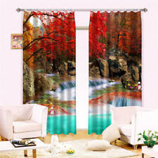 Red Leaves Waterfall 3D Blockout Photo Curtain Print Curtains Fabric Kids Window