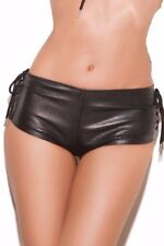 Leather Sexy Hot Pants Lace Up Side Mini Cheeky Booty Boy Shorts Back Zipper