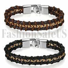 Stainless Steel Braided Men's Wide Unique Leather Bracelet Bangle Metal Buckle
