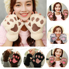 Winter Women Gloves Half Finger Cute Cat Claw Paw Plush Mittens Short Fingerless