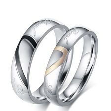 """""""Real Love"""" Heart Couple Romantic Stainless Steel  Engagement Ring Wedding Band"""