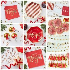 Red & Gold Christmas Decorations, Plates, Napkins, Confetti, Card Holder, Bundle