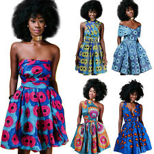 Women African Print Pleated Dress Convertible Multi Way Wrap Party Mini Dresses
