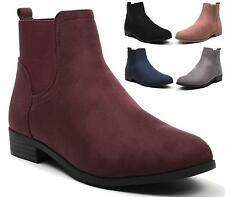 WOMENS LADIES GUSSET LOW FLAT BLOCK HEEL PULL ON CHELSEA ANKLE BOOTS SHOES SIZES